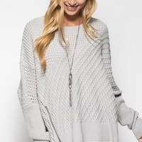 OSFA Oversized Cable Knit Sweater Poncho - Grey
