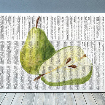 Pear print Fruit art Kitchen poster Dictionary print RTA2162