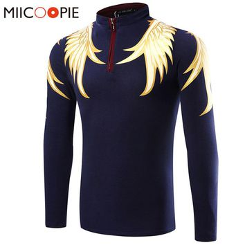 Brand Men Polo Hombre Shirt Mens Fashion Wings Printing Fitness Collar Polo Shirts Long Sleeve Casual Camisetas Masculinas XXXL