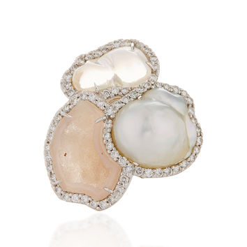 One-Of-A-Kind Pink Geode, Baroque Pearl And Mexican Water Opal Ring With Diamonds Set In 18K White Gold | Moda Operandi