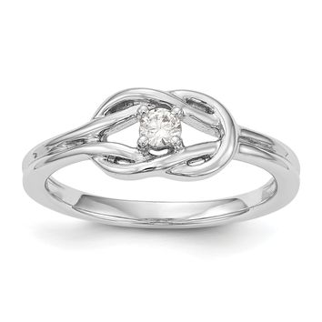 14K White Gold Complete Diamond Promise / Engagement Infinity Love Knot Ring