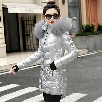 Women Winter Metallic Puffer Jacket
