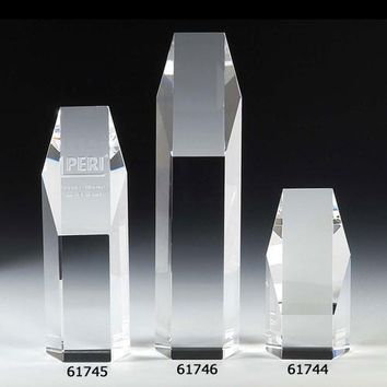 "Hexagon 10"" Optical Crystal Tower Award"