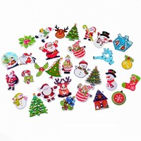 Free Shipping 50Pcs Random Mixed 2 Holes Christmas Decorative Buttons Wood Sewing Buttons Scrapbooking