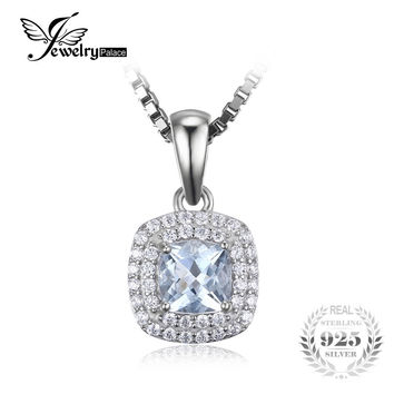 JewelryPalace Cushion Cut 0.8ct Natural Aquamarine Pendant 925 Sterling Silver Pendant Fashion Jewelry for Women