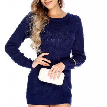 Sexy Navy Open Knitted Long Sleeve Sweater Dress
