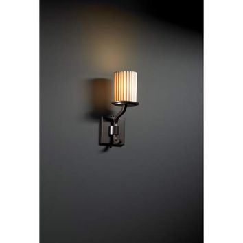 Justice Design Group POR-8781-10-CHKR-DB Sonoma Dark Bronze Checkerboard Single-Light Short Wall Sconce - (In Checkerboard)