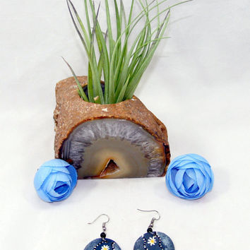 Blue and Black Ethnic/African Flowered Shield Earrings