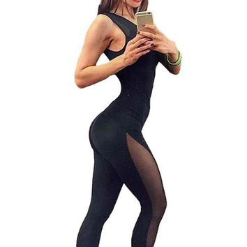 DKLW8 New Sexy Women Jumpsuit Solid Mesh Round Neck Sleeveless Overalls Leotards Playsuit Black Pants Black