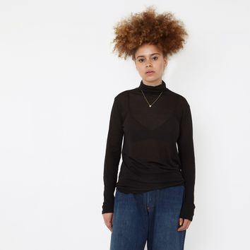 Zucca Supima Cotton Light Jersey Roll Neck Top - Black