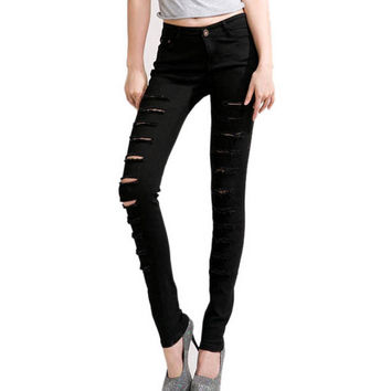 White Black Women Bandage Punk Hole Ripped Slit Skinny Jeans Pencil Pants
