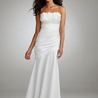 David`s Bridal Wedding Dress: Ruched Strapless Gown with Draped Bodice and Skirt Style 231M13270