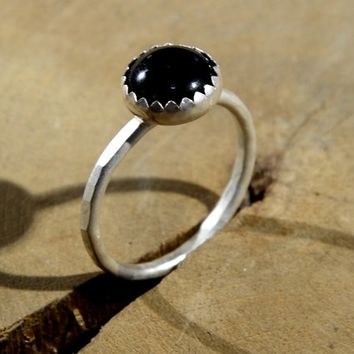 Onyx on Hammered Sterling Silver Stacking Ring