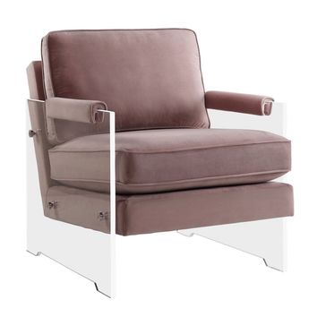 Serena Blush Velvet/Lucite Chair