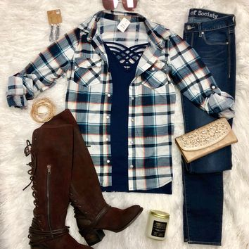 Penny Plaid Snap Flannel Top: Navy/Teal