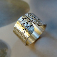 Autumn tree ring, rustic Sterling silver ring, hammered wide band ring, metalwork jewelry