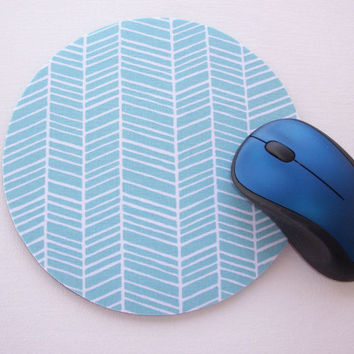 Mouse Pad mousepad / Mat - Round or rectangle - herringbone chevron white on aqua blue
