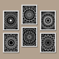 Wall Art Kitchen Bedroom Bathroom Mandala Flower Canvas Artwork Custom Colors Black White Botanical Set of 6 Dahlia Flower Petal Bloom Decor