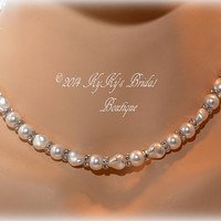 Pearl Bridal Necklace with Swarovski Crystals, Pearl Necklace, Wedding Jewelry, Bridal Jewelry, Bridal Shower Gift
