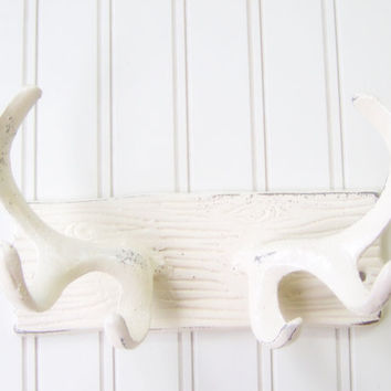 Wall Hook / Cast Iron Antlers Refinished in Shabby by TheDoorStop