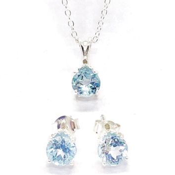 ON SALE - Genuine Blue Topaz & Diamond Accented IOBI Precious Gems Necklace & Earrings Set