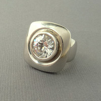 Modernist Sterlling Silver Cubic Zirconia Ring Statement Jewelry