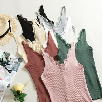 New Free Size Vest Women Fashion Fitness V Neck Sexy 1PC Knitted Lace Korean Solid Summer Tank Tops Lace