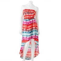 Trixxi Ruffled Abstract Hi-Low Strapless Maxi Dress - Juniors