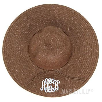 Monogrammed Floppy Beach Shimmer Hat | Marleylilly
