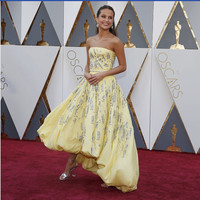 Academy Awards Yellow Strapless