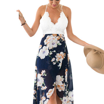 Floral Print Chiffon Patchwork Lace V Neck Open Back High Low Beach Casual Long Maxi Dresses