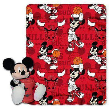 Chicago Bulls NBA Mickey Mouse Throw and Hugger Pillow Set