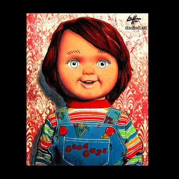 "Print 8x10"" - Chucky Doll - Childs Play Horror Monster Creature Doll Toy Cute Halloween 80s Vintage Gothic Kill Pop Lowbrow Pop Art"