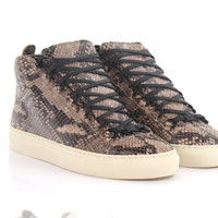 Balenciaga Python-skin Embossed Arena High leather brown Sneakers