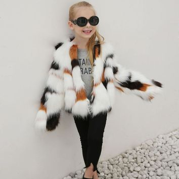 Newest Fashion Kids Baby Girls Autumn Winter Faux Fur Coat Jacket Thick Warm Outwear Clothes trench coats for girls cute casaco+
