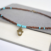 Hamsa Wood Necklace. Wooden Beads Turquoise Beaded Necklace. Yoga Inspired Jewelry. Unisex Earthy Necklace