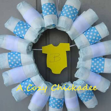 Baby Boy Diaper Wreath in Blue
