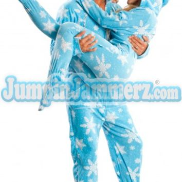 Blue Frosty Flakes Hooded Adult Pajamas - Hooded Footed Pajamas - Pajamas Footie PJs Onesuits One Piece Adult Pajamas - JumpinJammerz.com