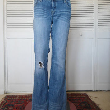 Size 10 Womens Redesigned Elephant Bell Bottom Blue Jeans upcycle refashioned hippie boho gypsy bohemian cowgirl glam style clothes torn rip