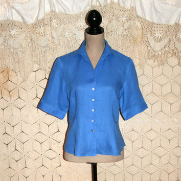 Spring Clothing Blue Linen Blouse Button Up Short Sleeve Casual Blouse Woman Shirt Fitted Tailored Jones New York Medium Womens Clothing