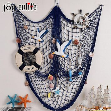 1pcs Mermaid Party Birthday Party Decorations White Blue Fishing Net Shell Starfish DIY Photo Ornaments Hanging Home Wall Decor