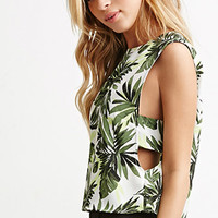 Tropical Print Cutout Top