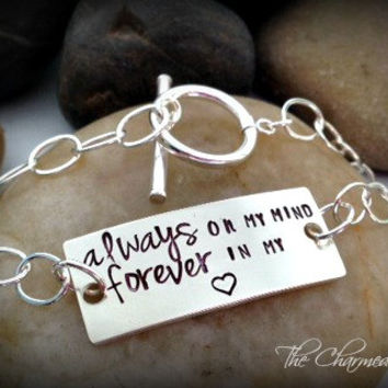 Always on My Mind - Forever in My Heart - Hand Stamped - Personalized Bracelets - Toggle Bracelets - Sympathy gifts - Memorial Jewelry