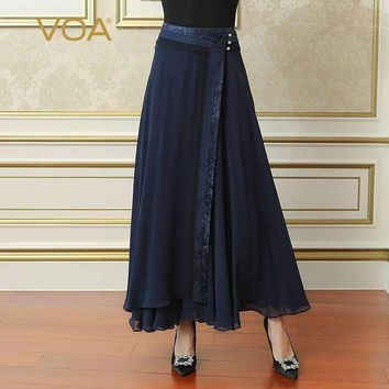 Voa Summer Navy Blue Plus Size Loose Women Maxi Long Pleated Skirt Silk Georgette Brief Solid Casual Skirt Cla02801