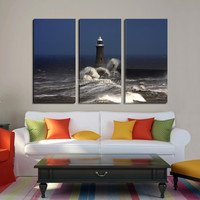 Lighthouse and Storm Art Canvas Print - 3 Panel Ocean Canvas Print - Framed Giclee Print