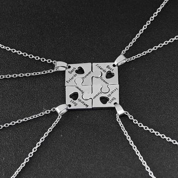 4 Pcs Best Friend Forever Necklace Puzzle Piece Jigsaw Necklace with Hearts Friendship Necklaces Jewelry Gifts