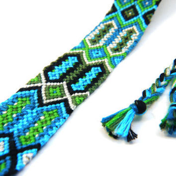 Turquoise, Green & Black Knotted Friendship Bracelet - Perfect gift for best friends