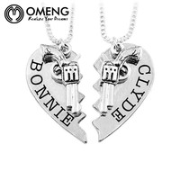 Bonnie & Clyde Revolver Heart Splicing Necklace