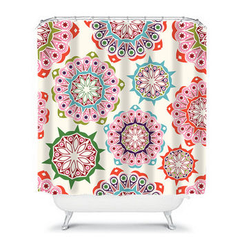 Shower Curtain Pink Navy Blue Green Mandala Flower Circle Floral Pattern Bathroom Bath Polyester Made in the USA