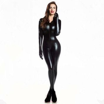 VONG2W Plus XXL Size Wome's 2way zipper Faux Leather Catsuit Clubwear DS Latex Cat Women With Gloves Fancy Costume Jumpsuit
